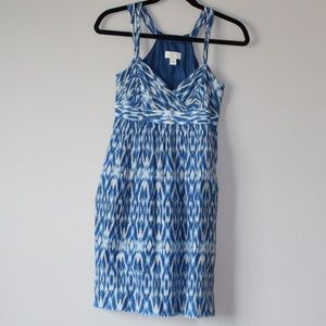 Ann Taylor Loft Blue Patterned Dress Size 2 Petite